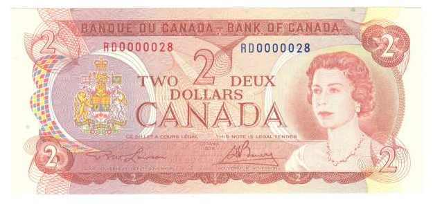 Canadian 2 Dollar Bill 1974 http://coinsandcanada.com/bank-notes-special-serial-number.php