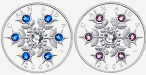 2008 $20 Sterling Silver Coins - Sapphire and Amethyst Crystal Snowflake