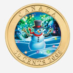 2008 50-cent Coin - Holiday Snowman