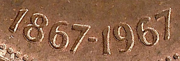 1 cent 1967 - Double date