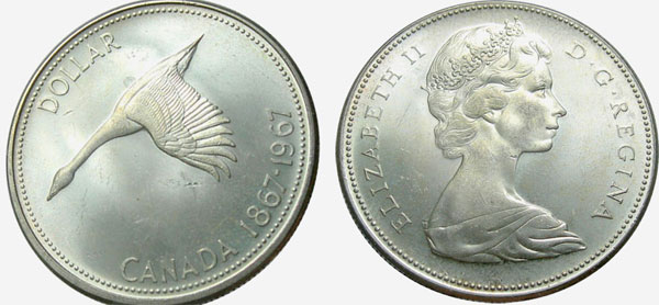1 dollar 1967 - Diving goose